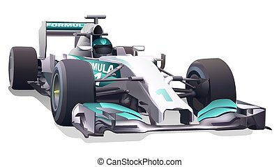 Formula One - Driver And Racing Car Illustration, Vector