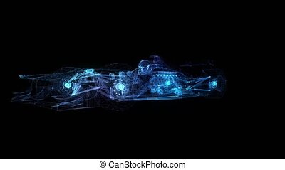 Formula one. Glow points, line and mesh formation of 3d...