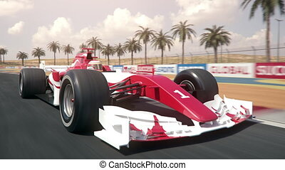 Generic formula one race car driving along the homestretch over the finish line - semi front view camera - realistic high quality 3d animation - my own car design - no copyright/trademark infringement