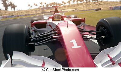 Generic formula one race car drives along the race track - dynamic front view camera south stretch - realistic high quality 3d animation - my own car design - no copyright/trademark infringement