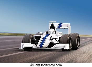 on speed track - formula one race car on speed track -...