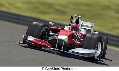 race car on track - formula one race car on track - high...