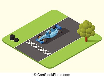 formula one race car vector isometric illustration. indy car...