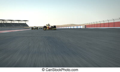 formula one racecars crossing finishing line - rear cam POV - high quality 3d animation - visit our portfolio for more