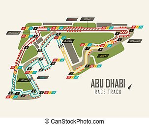 Formula one racing track in Abu Dhabi top view. UAE or United Arab Emirates race track for formula 1 in Yas Marina. May be used for track background or world championship, grand prix theme