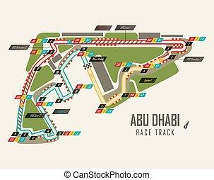 Formula one racing track in Abu Dhabi top view. UAE or...
