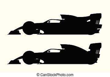 formula one set silhouettes on white