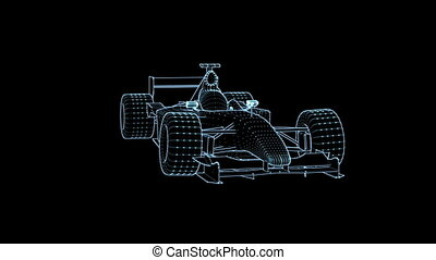 Formula One with light effect on a black background