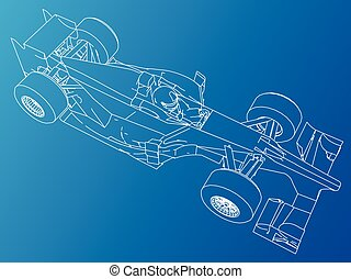 Formula race car. Abstract drawing. Tracing illustration of 3d