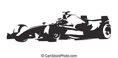 Formula race car, abstract vector silhouette