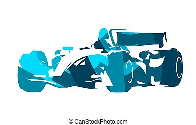 Formula racing car, abstract blue illustration