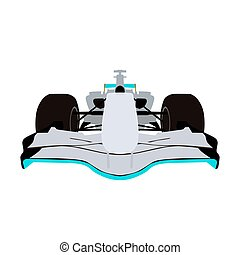 Formula racing car, front view vector illustration