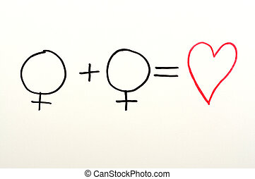 Formula - Two female and heart symbols used in a formula