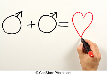 Formula - Two male symbols and heart shape used in a formula