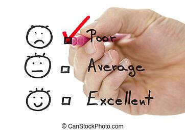 formulaire, évaluation, service, pauvre, tique, client