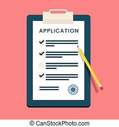 formulaire, application, vecteur