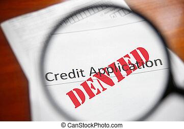 formulaire, application, verre, crédit, nié, magnifier