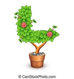 formulaire, arbre, isolé, l, pot., lettre, argile, fleurs