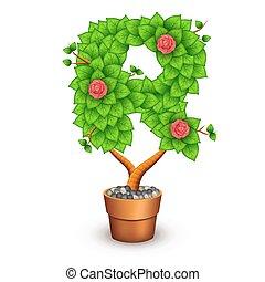 formulaire, arbre, isolé, pot., r, lettre, argile, fleurs