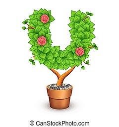 formulaire, arbre, isolé, pot., u, lettre, argile, fleurs