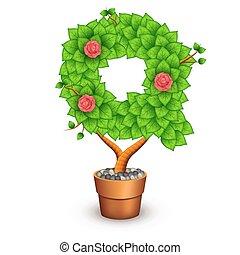 formulaire, arbre, isolé, q, pot., lettre, argile, fleurs