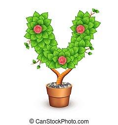 formulaire, argile, arbre, isolé, pot., lettre, v, fleurs