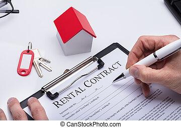 formulaire, contrat, main, remplissage, humain, loyer