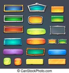 formulaire, ensemble, boutons, jeu, ui, conçu, gamedesign, interface, utilisateur