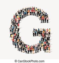 formulaire, gens, lettre, groupe