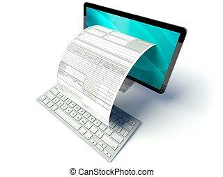 formulaire, impôt, ordinateur bureau, facture, écran, ou