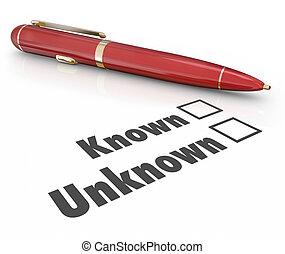 formulaire, inconnu, question, boîtes, connu, stylo, vs, remplissage, réponse, viser