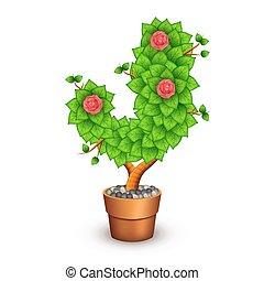 formulaire, j, arbre, isolé, pot., lettre, argile, fleurs