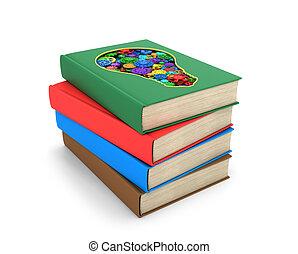 formulaire, livres, intérieur, multicolore, une, ensemble, où, ampoule, lumière, coupure