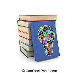 formulaire, livres, une, ensemble, où, ampoule, lumière, coupure