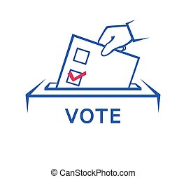 formulaire, main, jour, élection, tenue, vote