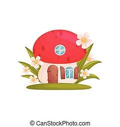 formulaire, maison, mushroom., fée-conte, arrière-plan., vecteur, illustration, blanc