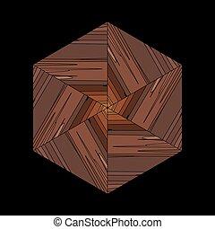 formulaire, modèle, géométrique, ethnique, brun, bambou, ornement