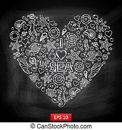 formulaire, planche, aimez coeur, craie, mer