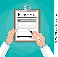 formulaire, prescription., rx, stylo, presse-papiers