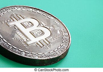 formulaire, produit, physique, plastique, chocolat, modèle, crypto, monnaie, arrière-plan., comestible, bitcoin, vert, mensonges