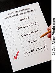 formulaire, réaction, amusement, service, client