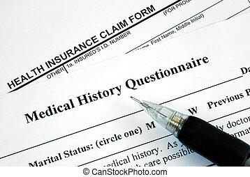formulaire, réclamation, monde médical