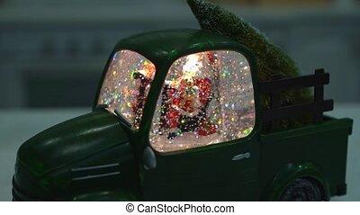 formulaire, santa, voiture, verre, claus., boule de neige