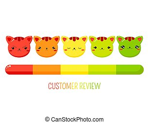 formulaire, service clientèle, évaluation, mignon, chats, sourires