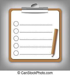 formulaire, tenue, liste contrôle, board.
