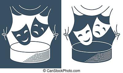 formulaire, théâtral, théâtre, masques, concept