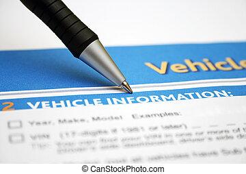 formulaire, véhicule
