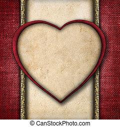 formulaire, vendange, valentin, carte papier, cœurs, rouges