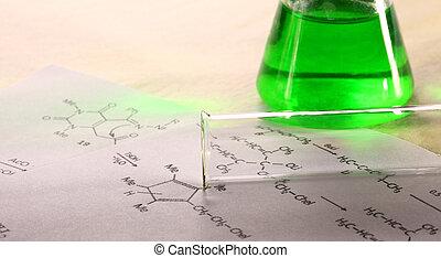 formule, chimie, vert, réaction