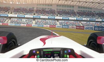 formule, course, conduite, piste, une, long
